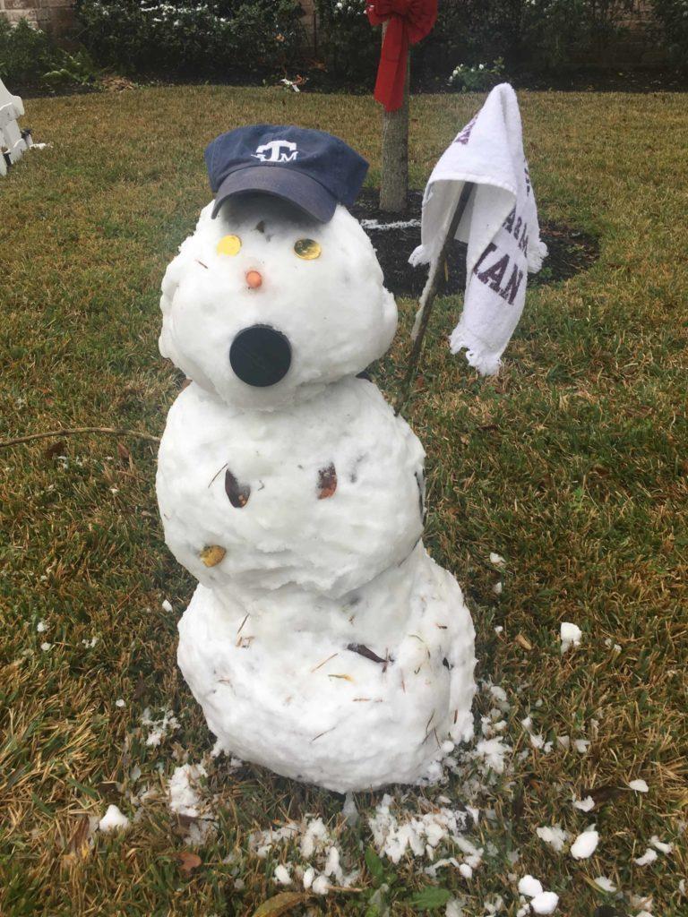 Snowman in Houston's Energy Corridor