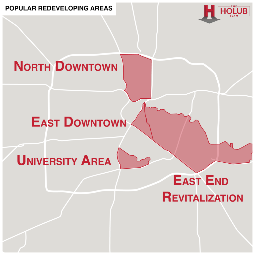 Popular Redeveloping Areas in Houston Map